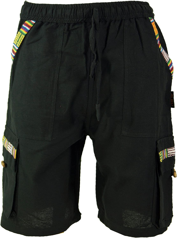 Guru-Shop Pantaloncini Yoga Ethno Goastyle Pantaloni da Uomo Dicotone