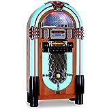 auna Graceland-XXL jukebox (radio AM/FM, ingresso AUX, slot USB/SD per riprodurre file audio da dispositivi esterni, lettore CD, illuminazione a LED) - marrone