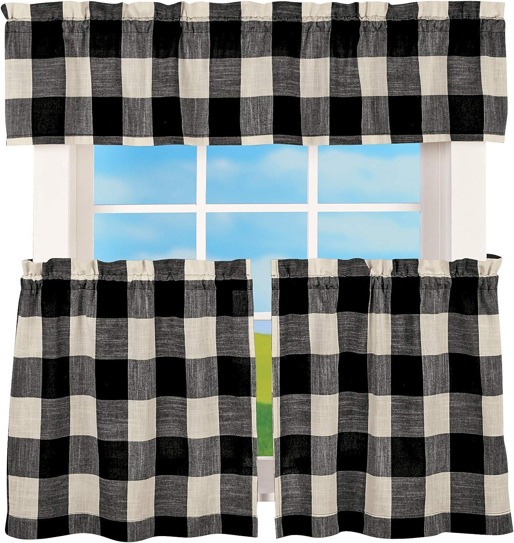 "LORRAINE HOME FASHIONS Courtyard Plaid Buffalo Check Kitchen Curtains (52"" Wide by 24"" Long Tier Pair, Black)"