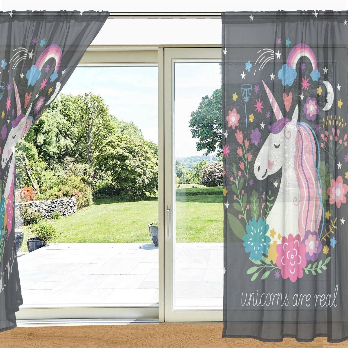 Polyester Multi 55 x 78 Each Panel MyDaily Floral Einhorn und Regenbogen Bedruckt Sheer Fenster und T/ür Vorhang 2/Felder 139,7/x 213,4/cm Rod Pocket Panels f/ür Wohnzimmer Schlafzimmer Decor