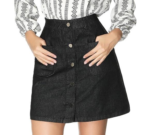 Taydey Women s A-Line Mini Denim Skirt Button Front Short Skirt(Black US10) 164d10c554