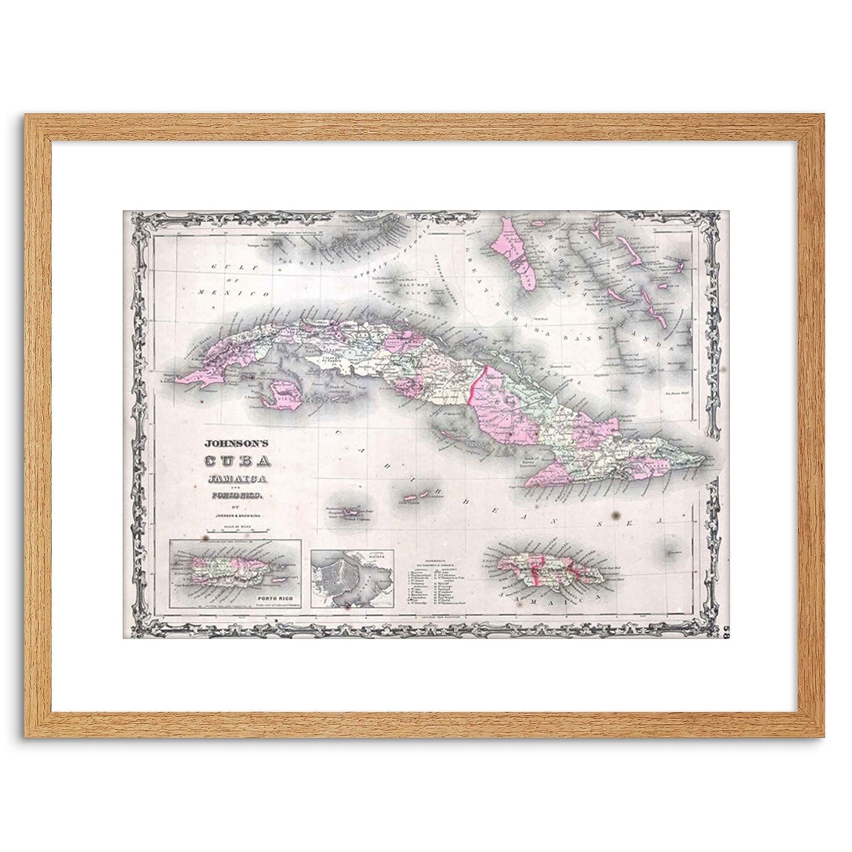 Wee Blue Coo Map Antique Johnson Cuba Jamaica Framed Wall Art Print