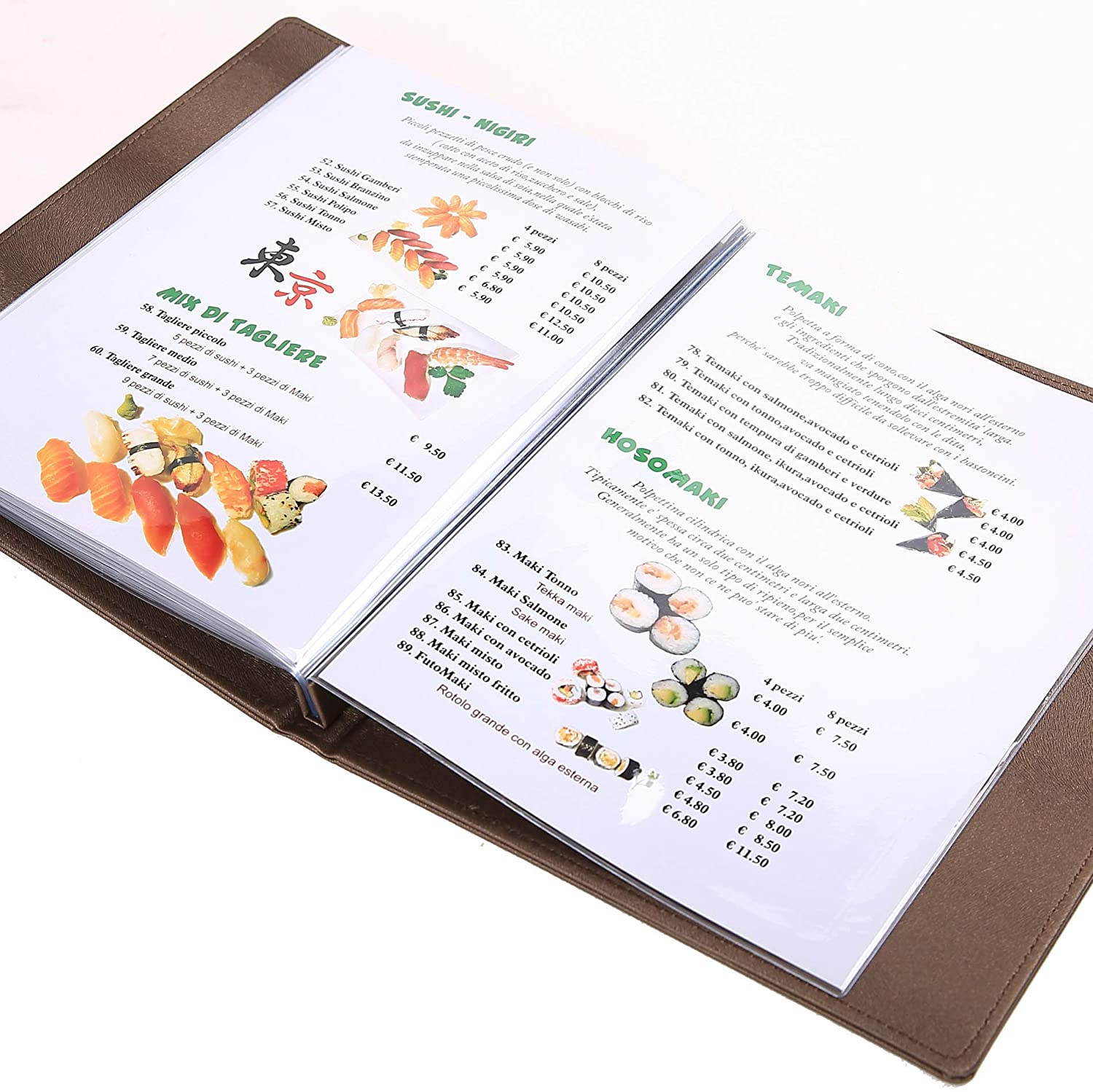 Dark Brown, 210X297mm 20pcs Pack, Gift 10 Printing Paper Menu Covers//Drinks List Free Logo Contains 5 Transparent Pockets