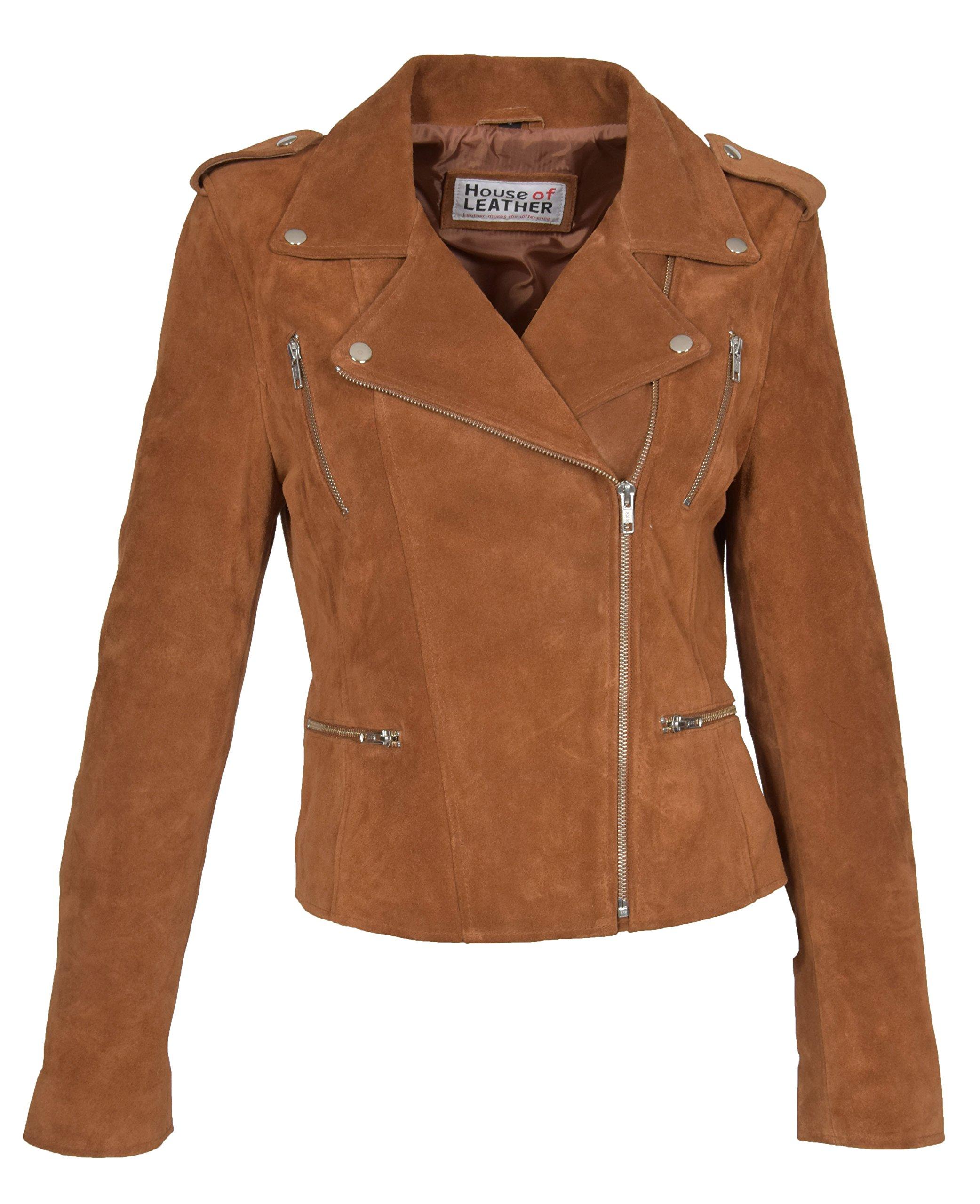 Ladies Real Suede Leather Biker Jacket Slim Fit Retro Cross Zip Style Skylar Tan (Large)