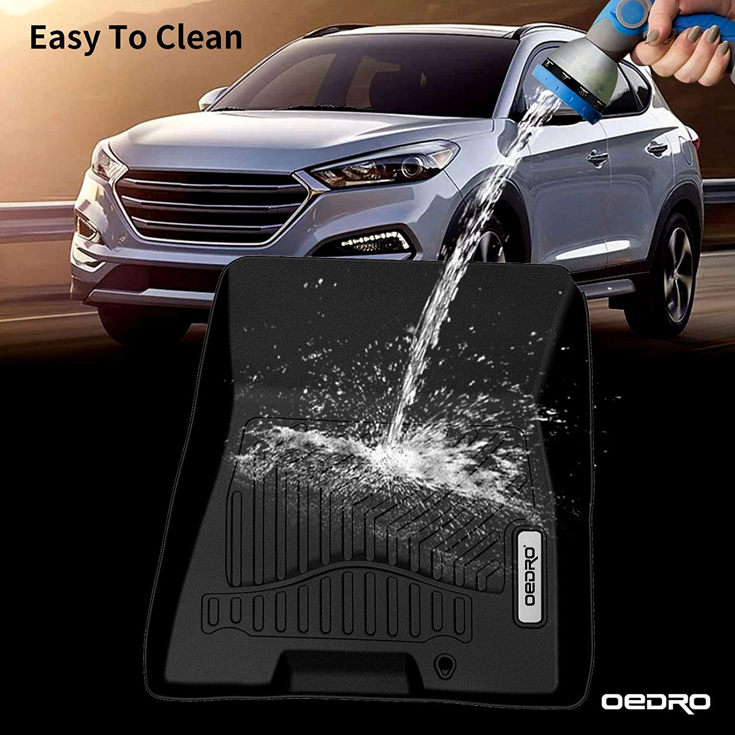 oEdRo Floor Mats Compatible for 2016-2018 Hyundai Tucson Full Set Liners Unique Black TPE All-Weather Guard Front and Second Row