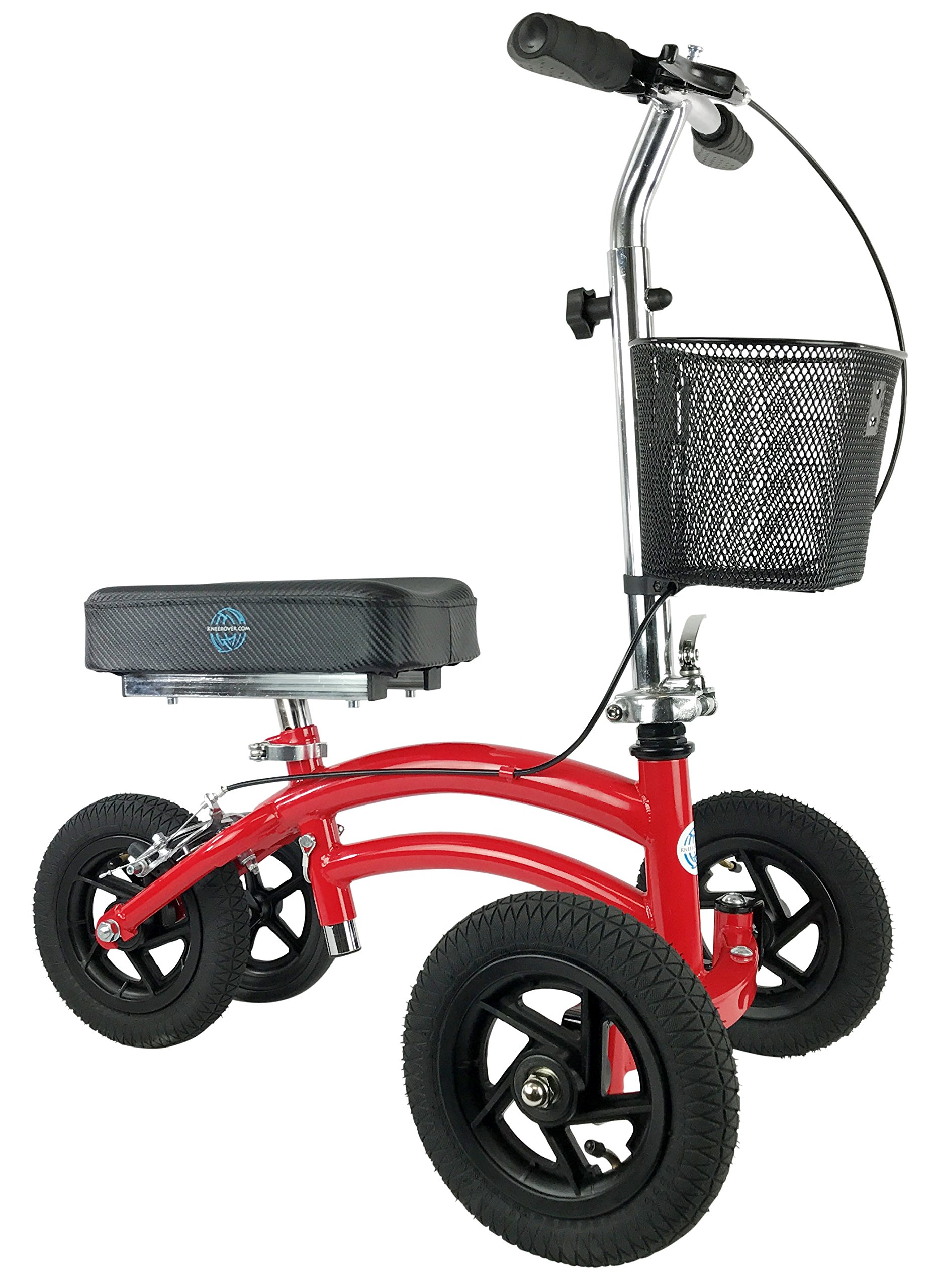 Small Petite Adult All Terrain KneeRover Jr - Steerable Knee Walker Knee Scooter Crutches Alternative in Red