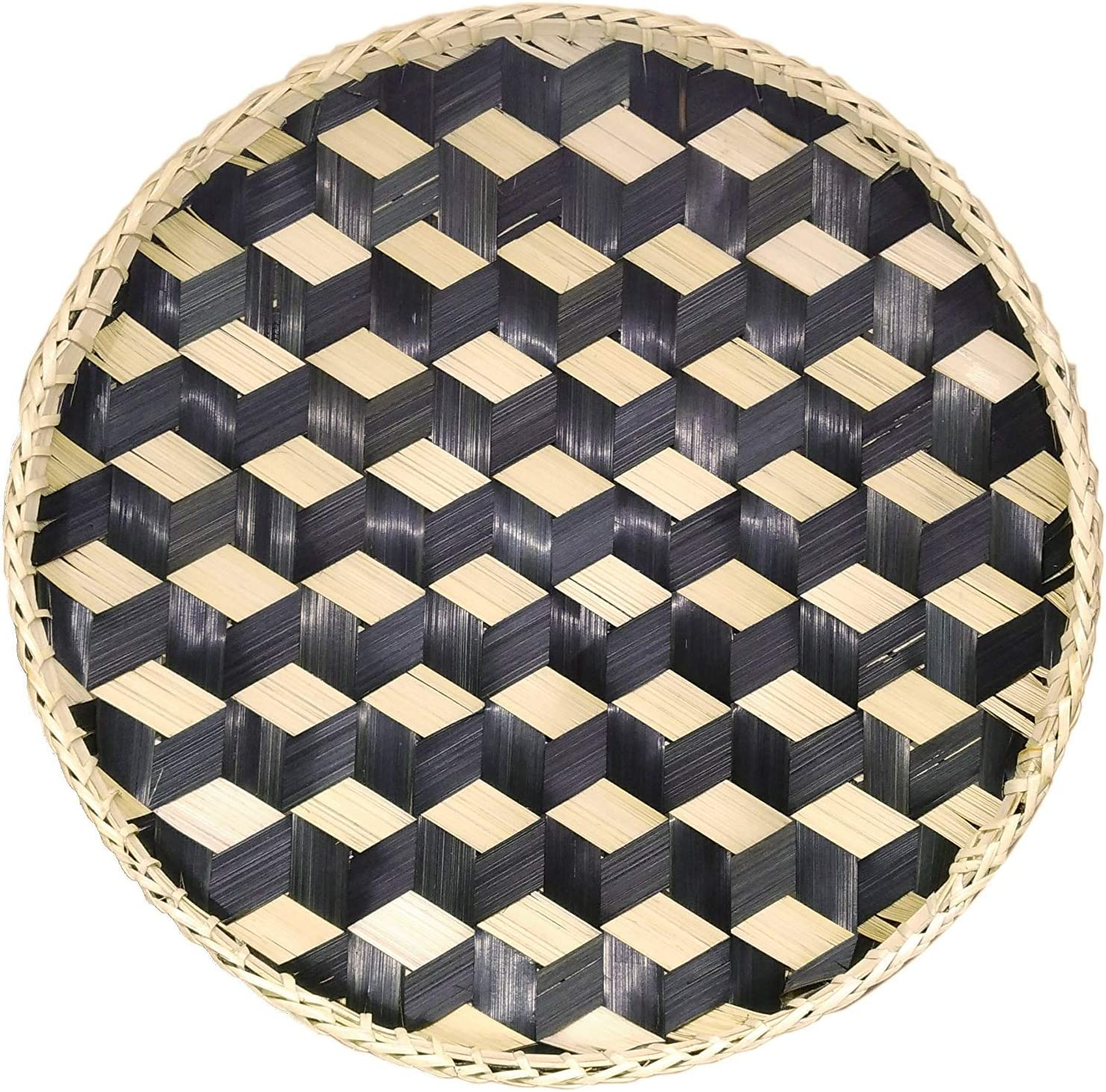 Bamboo Woven Round Basket Tray Rustic Wood Decorative Serving Tray for Breakfast, Drinks, Snack, Coffee Table | Chic Rustic Boho Decor Wall Hanging Home Decoration (Round - Black)
