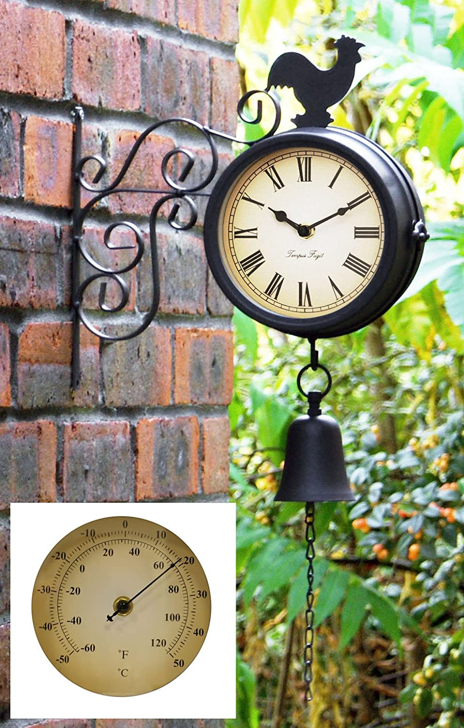 Amazon.com : Cockerel and Bell Outdoor Clock and Thermometer - 47cm ...