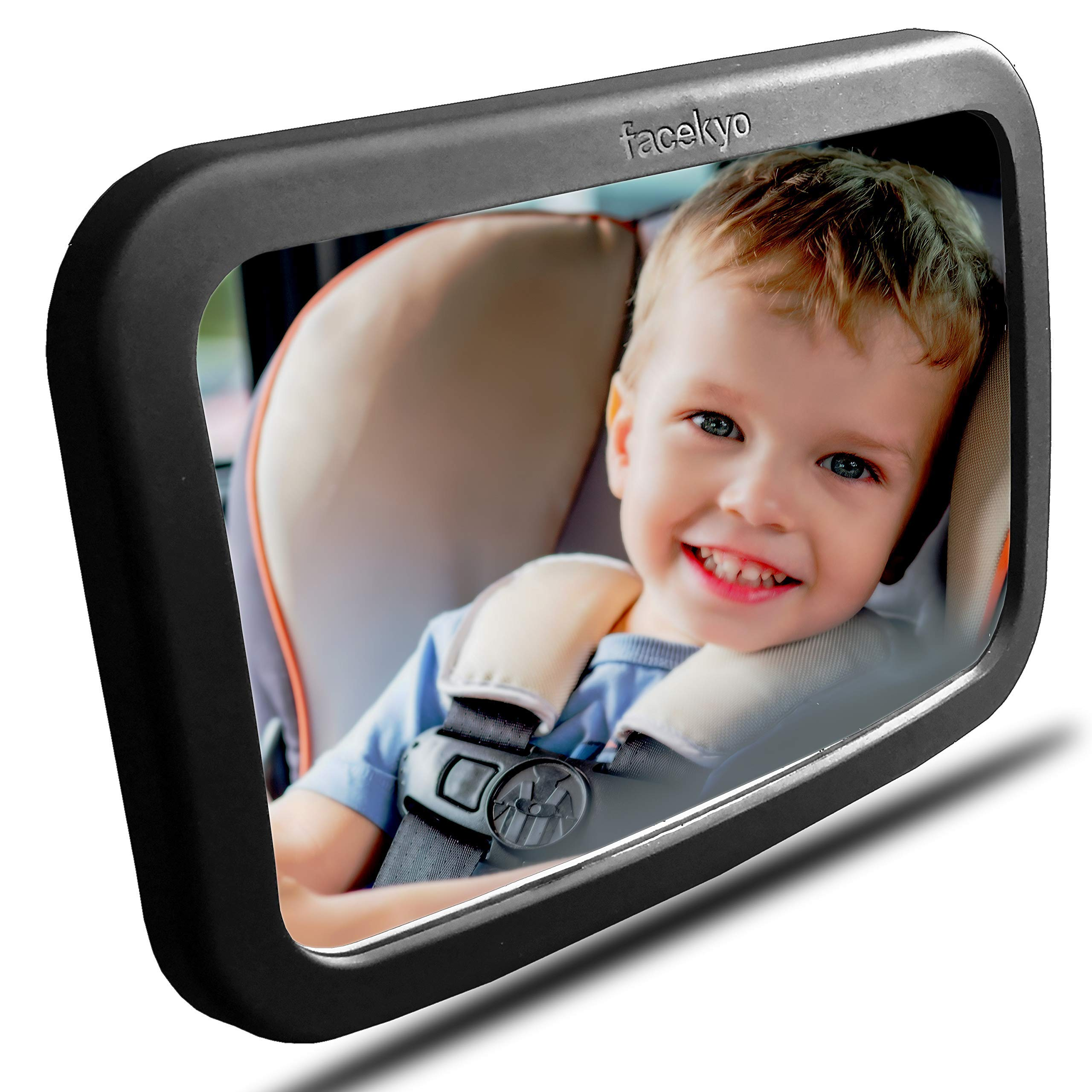 Baby Mirror for Car   Baby Car Mirror   Huge Wide-Angled Without Shaking   Rear Facing Baby View Mirror   Baby Back Seat Mirror   No Assembly Required   TPU Soft Frame by Facekyo (Black) by FACEKYO