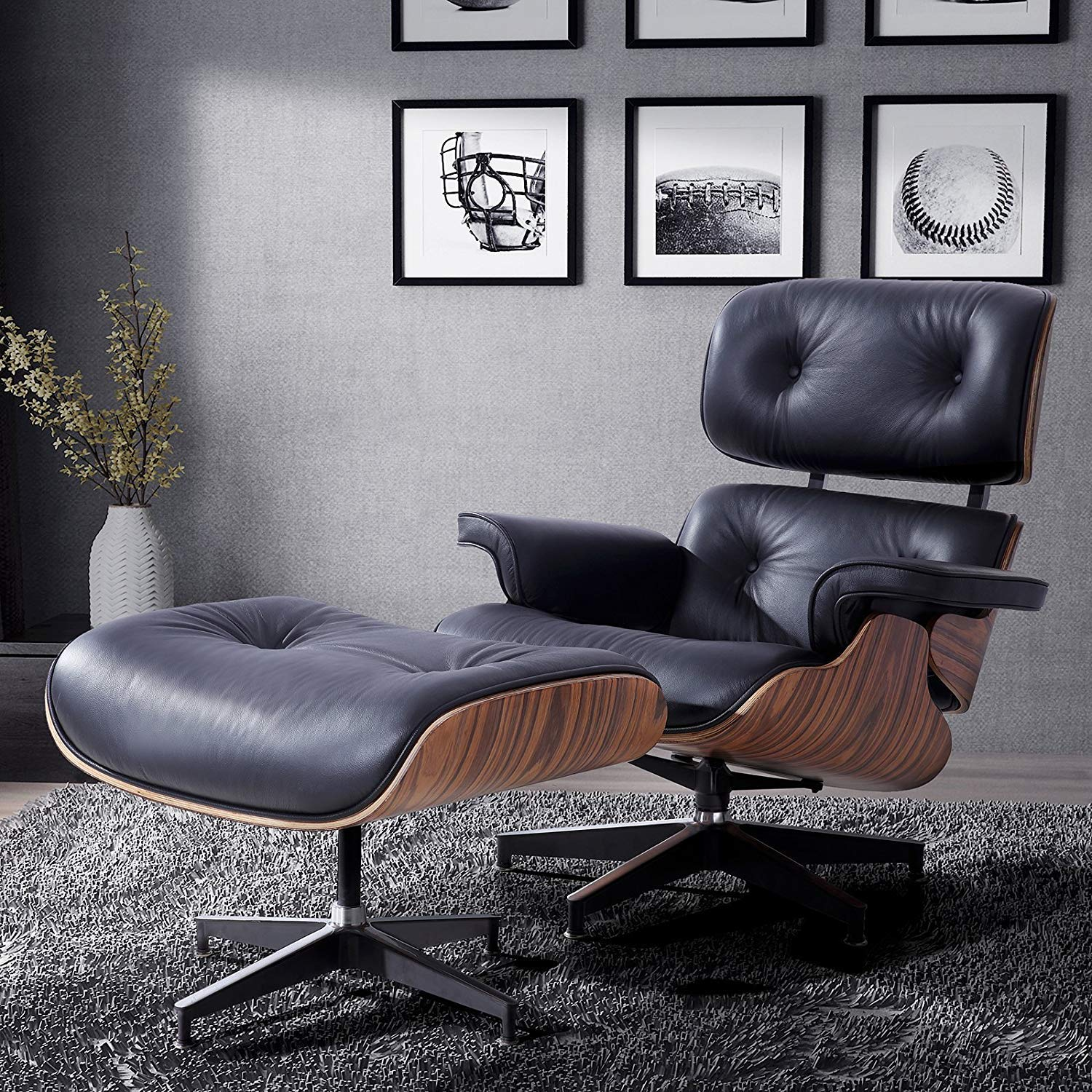 LAGRIMA Eames Lounge Chair with Ottoman, Mid Century Palisander Chair, 100%  Grain Italian Leather Living Room Recliner with Heavy Duty Base Support ...