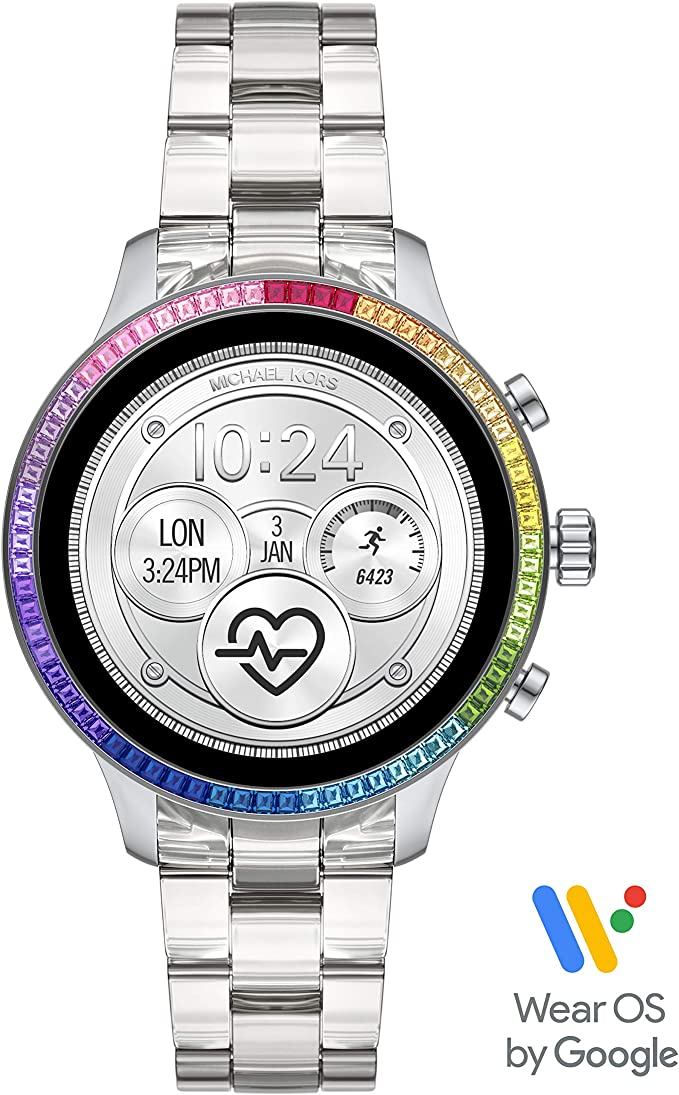 Michael Kors Access Womens Runway Stainless Steel Touch-Screen Smartwatch with Plastic Strap, Clear, 18 (Model: MKT5065)
