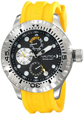 Nautica Mens N15107G BFD 100 Multi Analog Display Japanese Quartz Yellow Watch