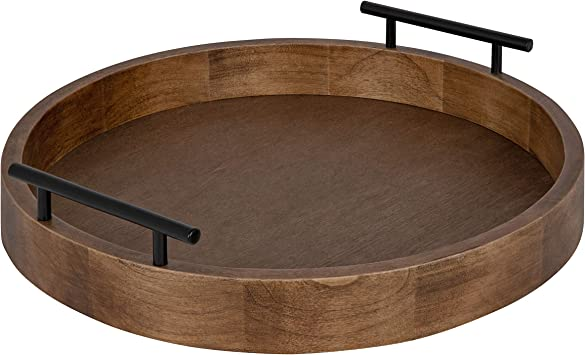 Amazon Com Kate And Laurel Lipton Modern Round Wood Decorative Tray 18 Diameter Rustic Brown And Black Decorative Accent Tray For Storage And Display Furniture Decor