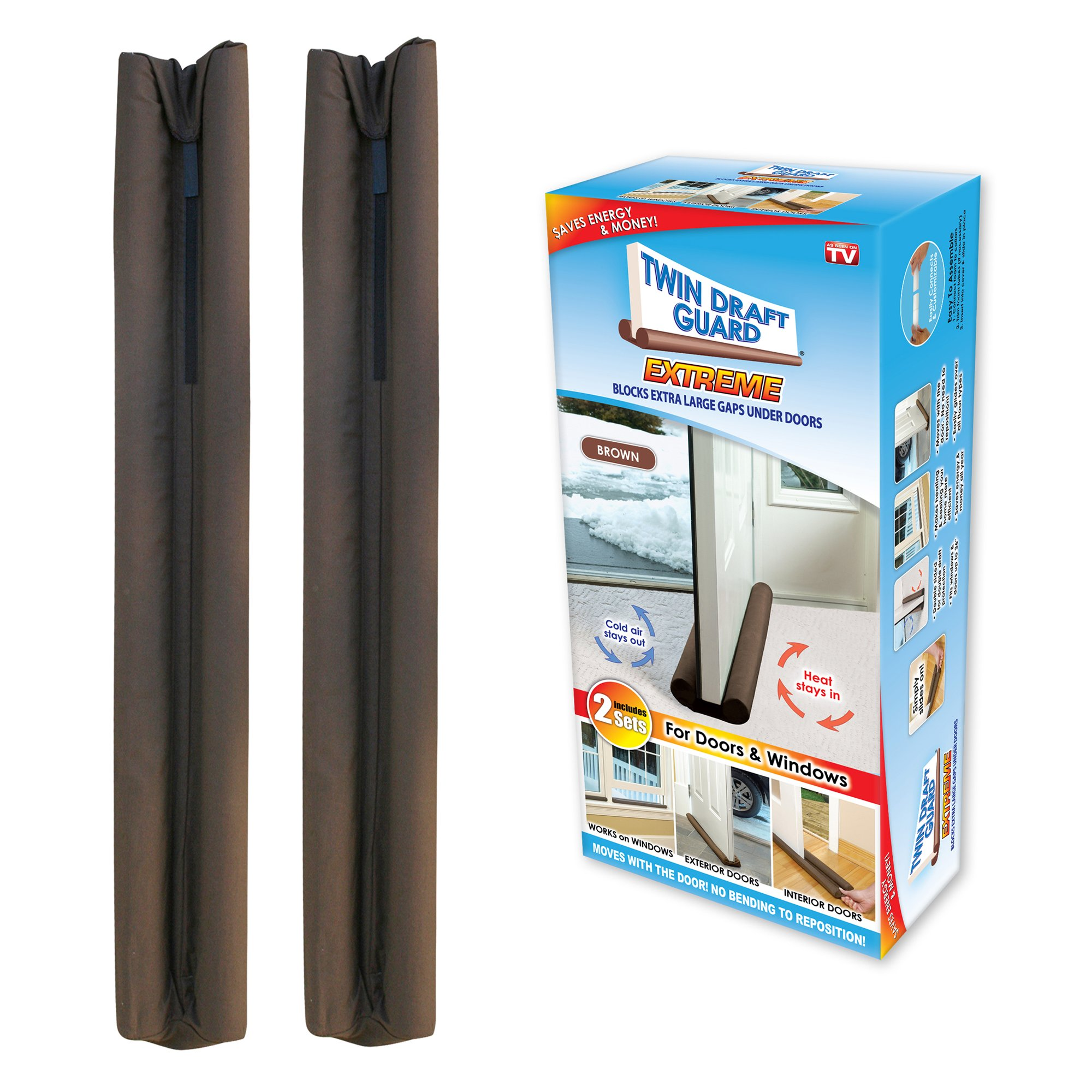 Twin Draft Guard Extreme in Brown - Set of 2 - Energy Saving Under Door Draft Stopper by Twin Draft Guard