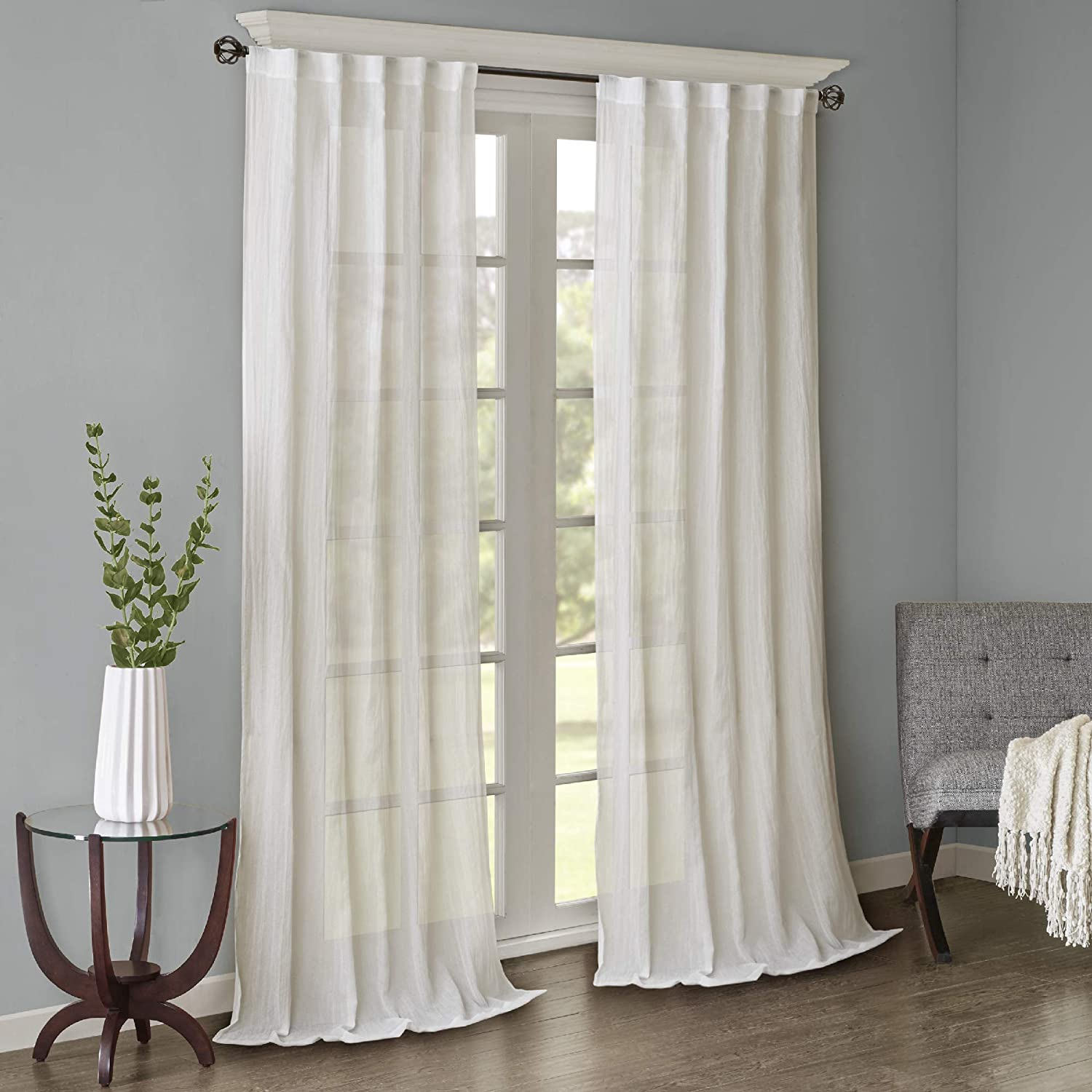 """Sheer Curtains For Bedroom, Modern Contemporary White Window Curtain For  Kitchen, Harper Solid Fabric Sheer Curtain , 6""""WX 6""""L , 6-Panel Pack"""