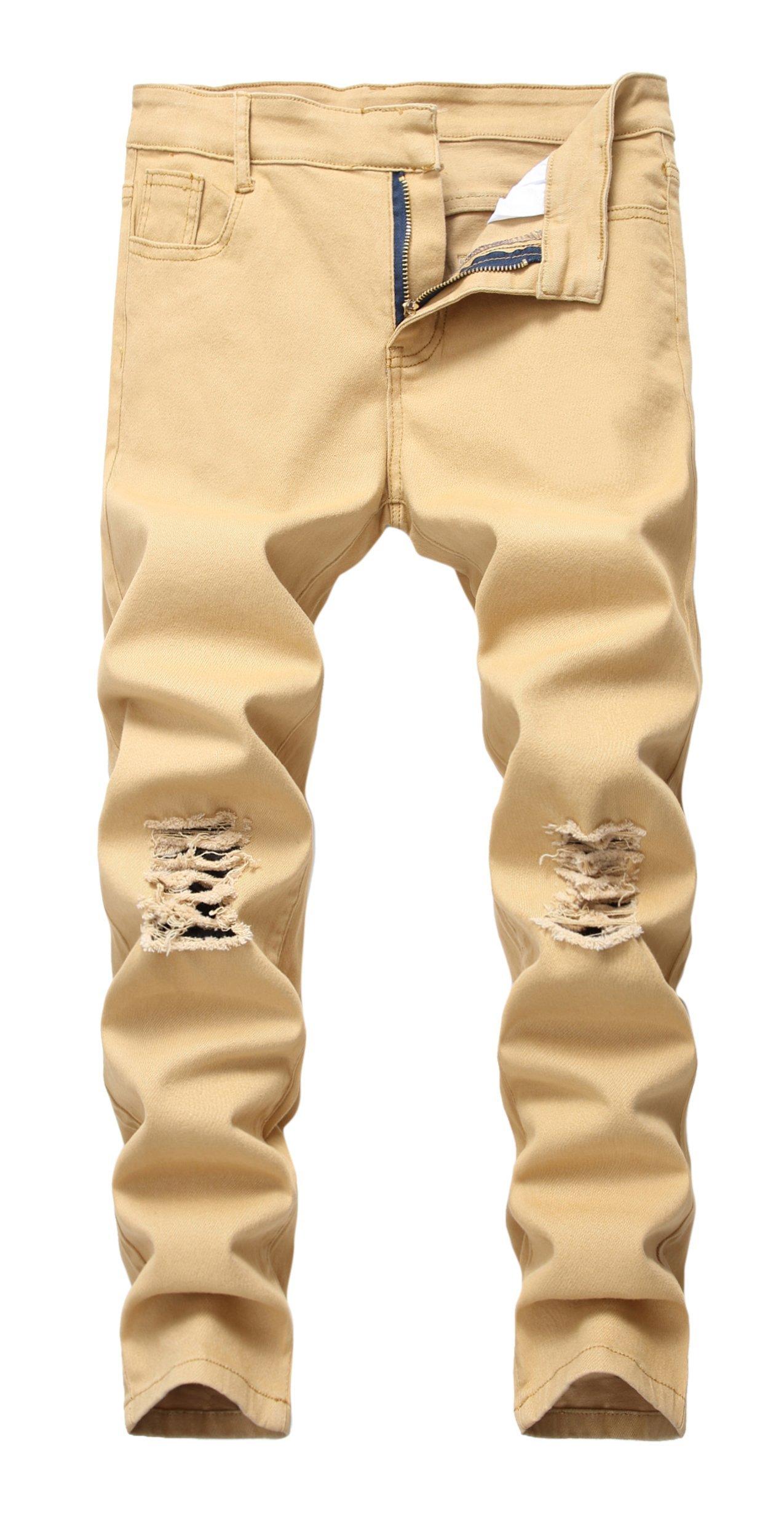 CLOTPUS Boy's Black Skinny Ripped Jeans Slim Fit Distressed Destroyed Stretch Pants Khaki 12
