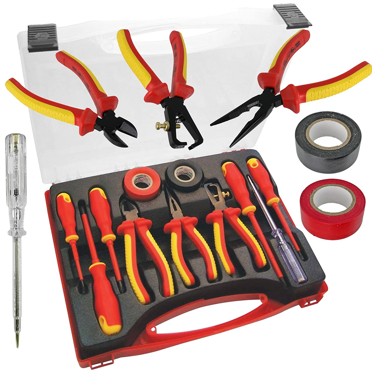 Spares2go Complete Electricians Insulated Screwdriver & Plier Tool Set