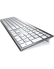 CSL - Bluetooth Tastatur | 2in1 Bluetooth + Funk 2,4 Ghz | Memoryfunktion für 3 Geräte | Mac Style, Multimedia Keyboard, QWERTZ-Layout, Li-Ion Akku | für iOS, MacOS, Windows, Android, Linux