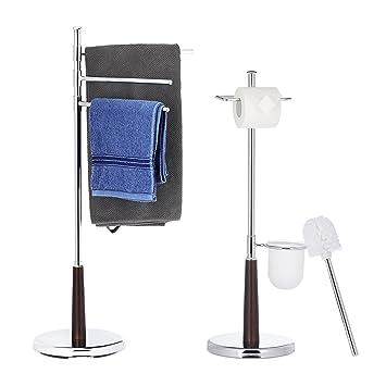 2 Tlg Badezimmer Set Grao Wc Garnitur Freistehend Handtuchhalter 2