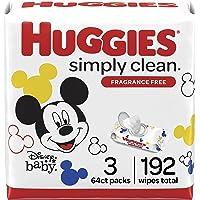 Baby Wipes, Huggies Simply Clean, UNSCENTED, Hypoallergenic, 3 Flip-Top Packs, 192 Count