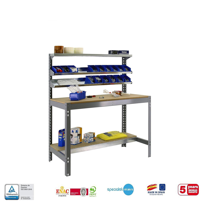 Banco de trabajo BT1 Simonwork Gris//Madera Simonrack 1445x1210x610 mms mesa de trabajo industrial 600 Kgs de capacidad por estante Banco de trabajo resistente