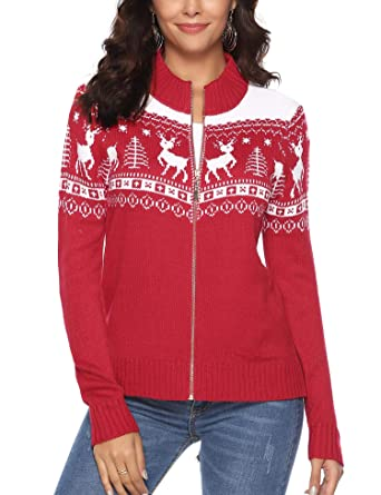 629e43f67db6f iClosam Women Christmas Sweater Open Front Cardigan Zip Knit Ugly Sweater  (Red 1