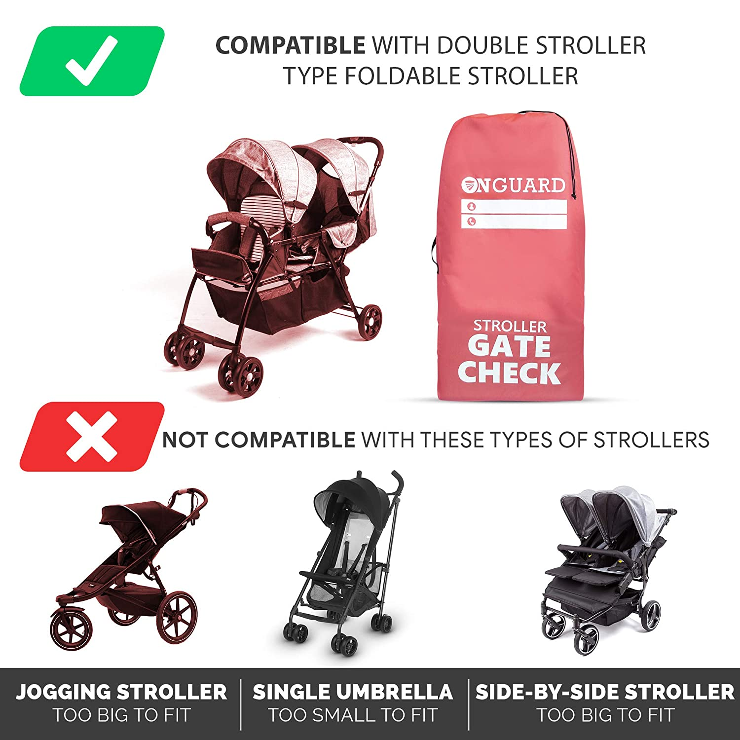 Waterproof Rip Resistant Polyester Compact Stroller Bag for Airplane OnGuard Stroller Travel Bag for Double Strollers Stroller Bag Cover Accessories Gate Check Bag for Baby Stroller