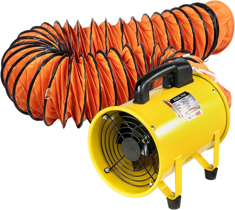 Husuper Ventilador Utilitario 1020-1500M³/H 8 Pulgadas con Manguera de Ventilador de 5 M para Áreas como Fábricas, Lofts y Sótanos Ventilador de Admisión Extractor de Aire