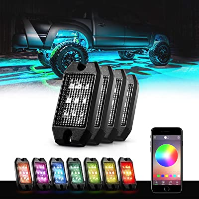 GoodRun Rock Lights RGB LED underglow kit with Bluetooth Controller, RGB remote controll & Timing Function & Music Mode for Underglow Off Road Truck SUV - 4 Pods: Automotive