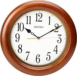 "Seiko 12"" Round Wood Classic Wall Clock"