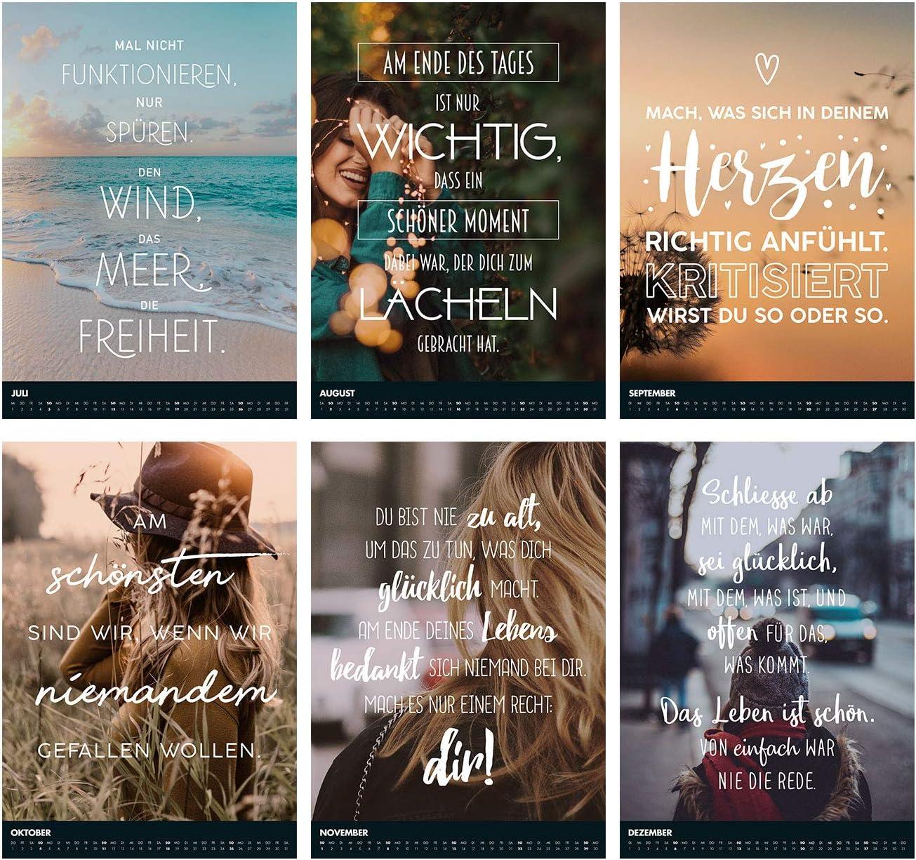 VISUAL STATEMENTS Wandkalender 2020; Kalender DIN A3; Bilder mit Spr/üchen verschiedene Bildmotive Monats-Wandkalender Dekoration zum Aufh/ängen Fun