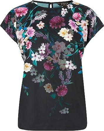 Lipsy Mujer Camiseta con Manga Japonesa Y Estampado Floral Negro EU 50 (UK 22): Amazon.es: Ropa y accesorios