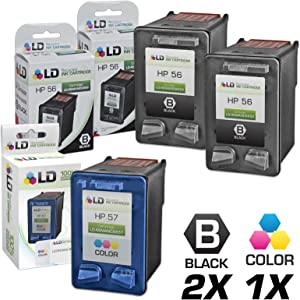 LD Remanufactured Ink Cartridge Replacement for HP 56 & HP 57 (2 Black, 1 Color, 3-Pack)