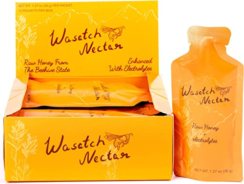 Wasatch Nectar Honey to Go Packets, 12-Count All-Natural Power Gel Energy Packs for Running, Cycling, Sports and Workouts Original Honey 1.5 oz Packets