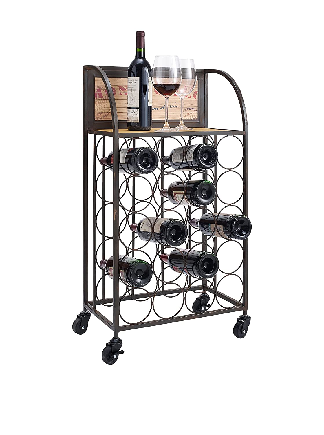 Linon Wood and Metal Wine Rack with Wheels