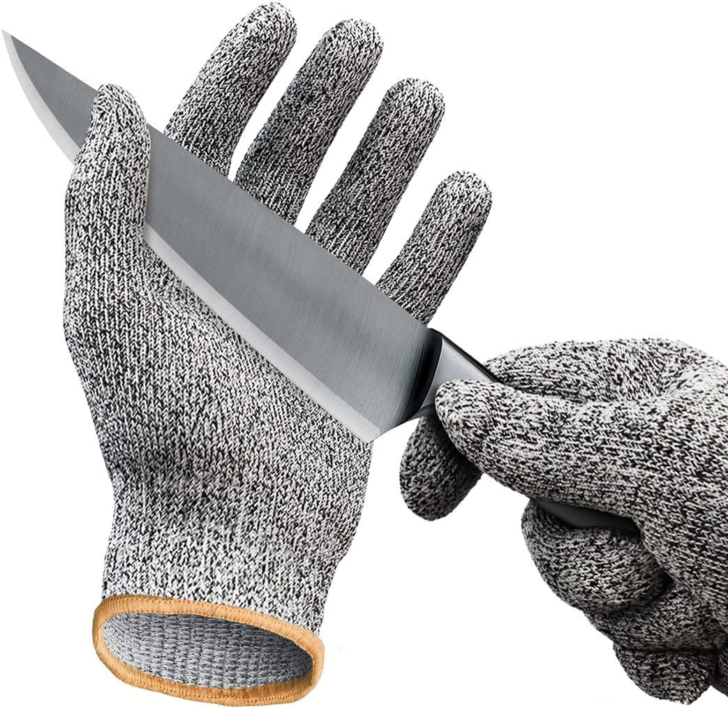 Cut Resistant Gloves/Cut Gloves - Cutting Gloves for Pumpkin Carving, Wood Carving, Meat Cutting and Oyster Shucking - Cut Proof Gloves with Level 5 Protection (Extra Large, Grey color)
