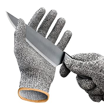 Cut Resistant Gloves / Cut Gloves - Cutting Gloves for Pumpkin Carving,  Wood Carving, Meat Cutting and Oyster Shucking - Cut Proof Gloves with  Level 5 ...