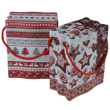 Juego de 2 bonitas de galletas latas diseño de invierno. En Rojo/Plata/