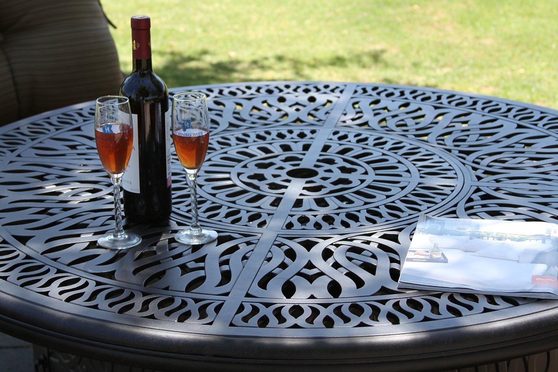 Elizabeth Outdoor Patio 60'' Round Dining Table Dark Bronze Cast Aluminum
