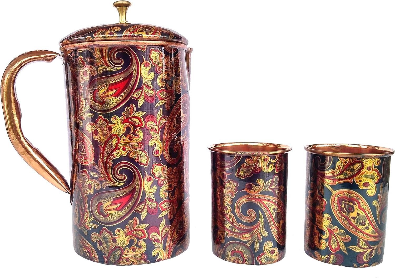 Rastogi Handicrafts Screen Printed pitcher and 2 tumbler set serving set jug and glass (1 Pitcher 2 Tumbler)