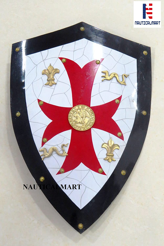 NAUTICALMART Knight TemplarロイヤルCrusader ShieldレッドクロスW/グリッド B07F6V2NW9