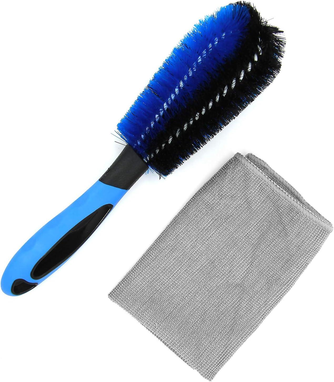 Carto Felgenbürste Und Reinigungstuch Zur Reinigung Von Alufelgen Stahlfelgen Bürste Und Tuch Für Felgenreinigung Auto