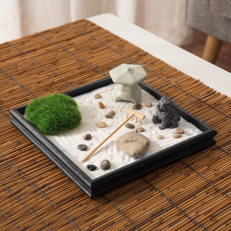 MyGift Mini jardín de arena Zen con césped artificial, rocas y estatuas: Amazon.es: Hogar