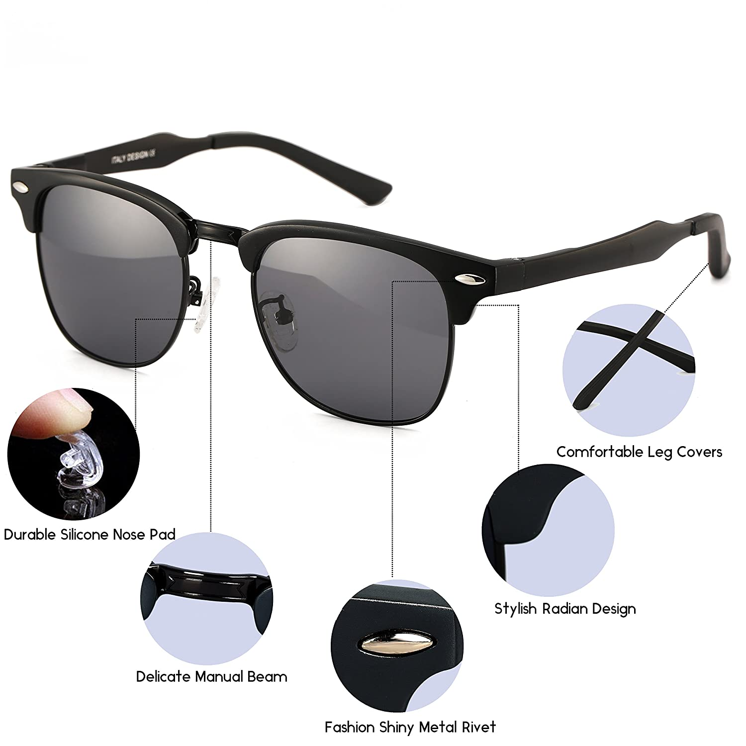 fcda0d6872 Amazon.com  Dollger Classic Square Half Frame Sunglasses Mens Black Horn  Rimmed Glasses for UV Eye Protection  Clothing
