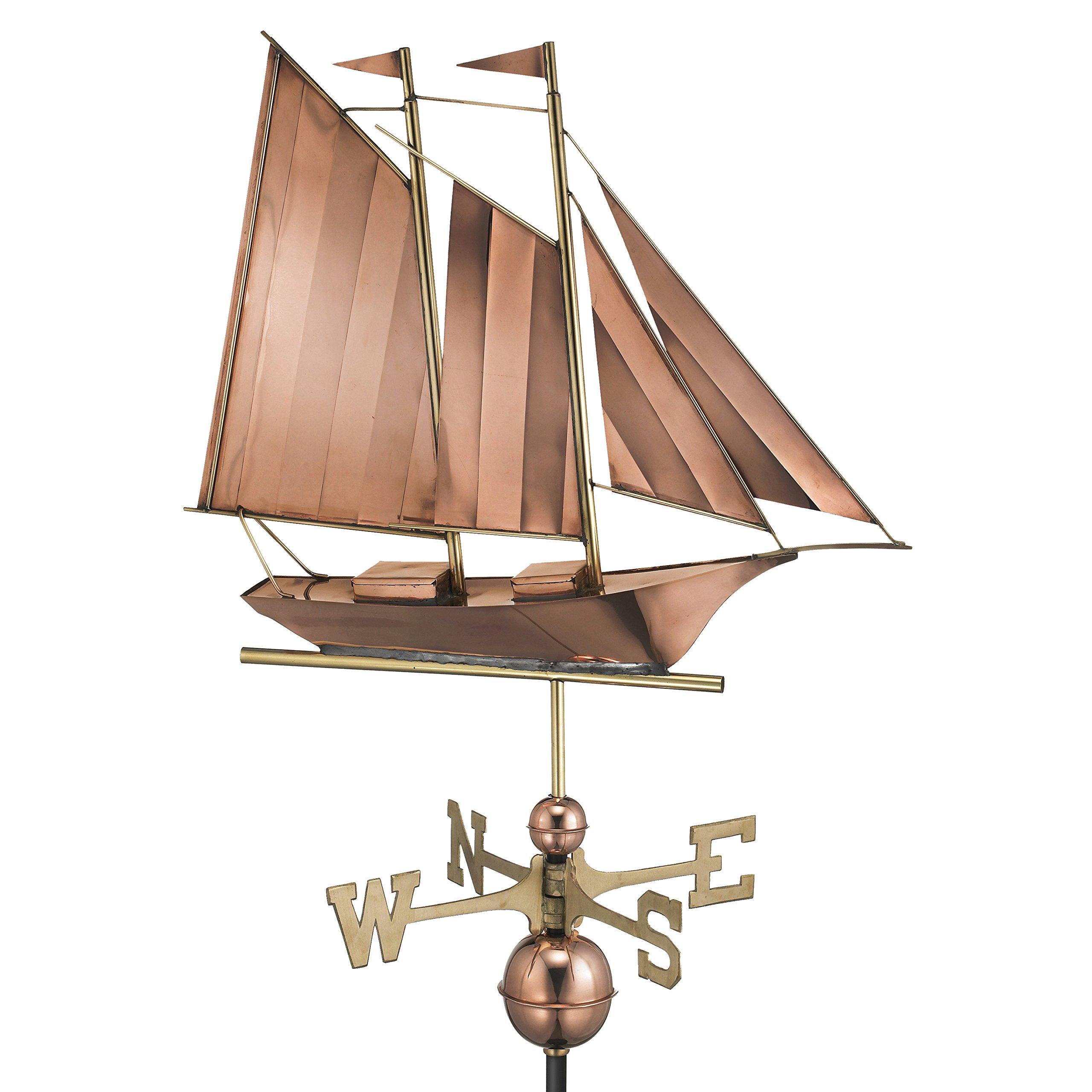 Good Directions Schooner Weathervane, Pure Copper