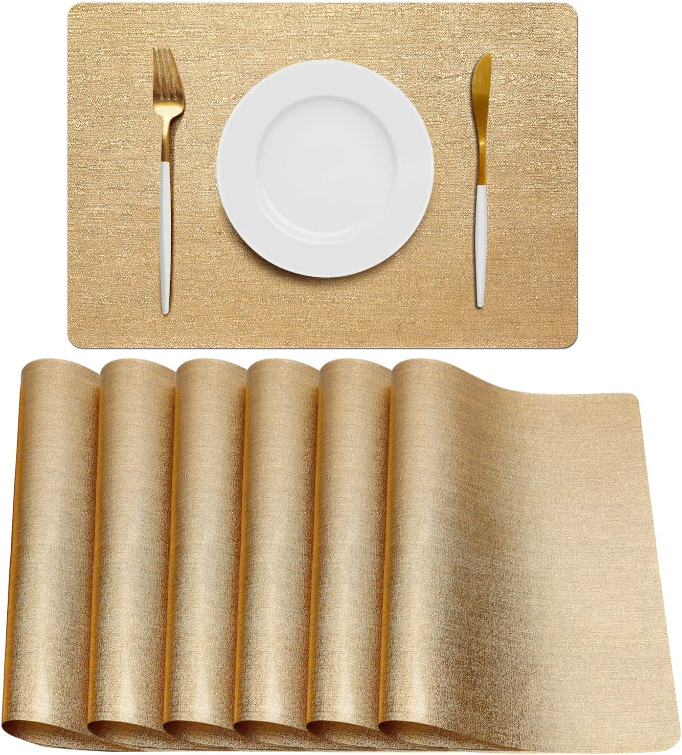 AIRCOWRIE Placemats for Dining Table Set of 6, Heat-Resistant Placemat Washable Vinyl Table Mats for Kitchen Restaurant (Gold)