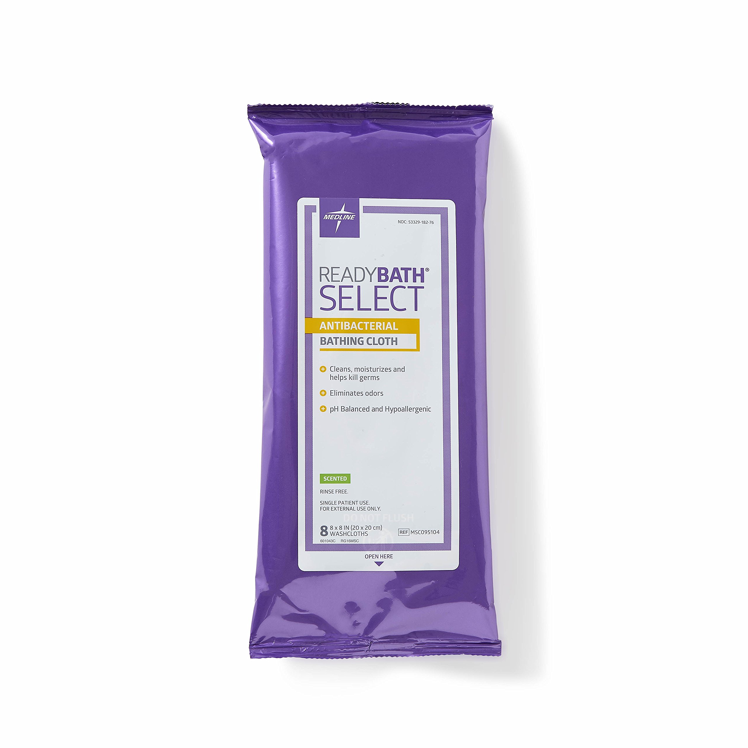 Medline ReadyBath Select Scented Antibacterial Body Cleansing Cloths, Medium Weight 30 Count