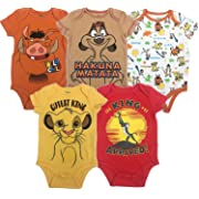 Disney Lion King Baby Boys' 5 Pack Bodysuits Simba Timon Pumbaa, 12 Months