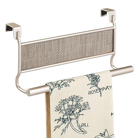 InterDesign Twillo Cuelga toallas para la puerta | Toalleros de baño con detalles de plástico tejido