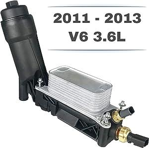 Engine Oil Cooler Assembly   V6 3.6L   5184294AE for 2011-2013 Dodge Chrysler Jeep   Housing, Filter, Gaskets, Sensors, Bypass Valve & Spring
